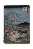 New Year's Eve Foxfires at the Nettle Tree, Oji', from the Series, 'One Hundred Famous Views of Edo Reproduction procédé giclée par Utagawa Hiroshige