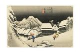 Night Snow at Kanbara, C. 1833 Giclee Print by Utagawa Hiroshige