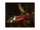 Still Life with the Drinking-Horn of the St. Sebastian Archers' Guild, Lobster and Glasses, C.1653 Giclee Print by Willem Kalf