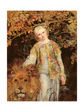 Una and the Lion, Exh. 1860 Giclée-tryk af William Bell Scott