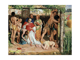 A Converted British Family Sheltering a Christian Missionary from the Persecution of the Druids Giclee Print by William Holman Hunt