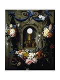 Eucharist in Garland of Flowers (Die Eucharistie Im Blumenkranz) Giclée-tryk