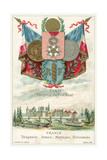 French Flags, Arms, Coins and Decorations and a View of Paris from the Pont Neuf Giclee Print