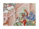 Detail from Krishna Cleaves the Demon Narakasura with His Discus, C.1585-90 Lámina giclée
