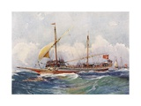 Galley of Malta with Wind in its Sails (17th Century), Watercolour by Albert Sebille (1874-1953) Stampa giclée