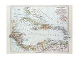 Map of Honduras Nicaragua Costa Rica the Northern Part of Columbia Venezuela Cuba 1899 Giclée-tryk
