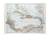 Map of Honduras Nicaragua Costa Rica the Northern Part of Columbia Venezuela Cuba 1899 Impressão giclée