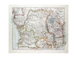 Map of Equatorial Africa the Republic of Mozambique the Republic of Angola Uganda Kenya 1899 Giclée-tryk