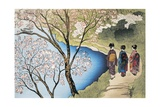 Rear View of Three Girls Walking on a Trail at Lakeside, Arashiyama, Kyoto Prefecture, Japan Giclée-tryk
