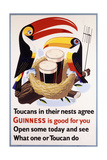 Toucans in their Nests Agree Guinness Is Good for You, 1957 (Lithograph in Colours) Giclée-Druck