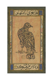 A 19th Century Persian Calligraphic Inscription in the Shape of a Falcon Lámina giclée