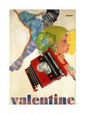 An Olivetti 'Valentine' Typewriter Promotional Poster, C.1969 (Colour Print, Wooden Frame) Giclee-trykk