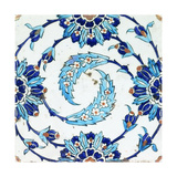 An Iznik Pottery Tile, with a Spiralling Floral Motif, Early 17th Century Lámina giclée