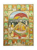 Rama and Sita Enthroned, Worshipped by Shiva, Hanuman and Others, 1800-20 (Gouache) Giclée-tryk