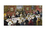 Formal Dinner Party for Dogs, 1893 Giclee Print