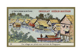 A Village on Stilts in the Area around Singapore Reproduction procédé giclée