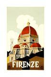 Florence Travel Poster, C.1930 Reproduction procédé giclée