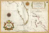 Spanish Map of Florida and the Bahamas, 1805 Impressão giclée