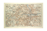 Old Map of London Impressão giclée