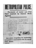 Jack the Ripper: Metropolitan Police Poster of 3 October 1888 Giclee Print