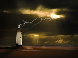 Lighthouse on Welsh Coast Struck by Lightning Bolt Photographic Print by  meirion