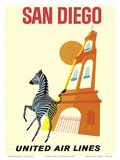 San Diego, California - Zebra - San Diego Zoo - Balboa Park - United Air Lines Kunst