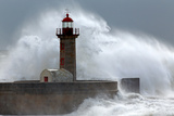 Huge Wave over Lighthouse Photographic Print by Zacarias da Mata