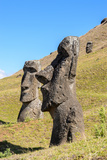 Moai in the Rapa Nui National Park, Easter Island, Chile, South America Lámina fotográfica por  siempreverde22
