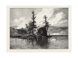 Trout Fishing on Lake Comandeau, Canada, Nineteenth Century Giclée-Druck