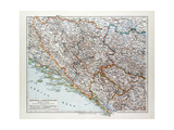 Map of Bosnia and Herzegovina Montenegro Serbia 1899 Giclee Print