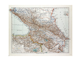 Map of Transcaucasia Georgia Azerbaijan Armenia 1899 Giclee Print