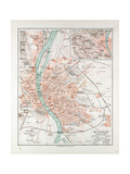 Map of Budapest Hungary 1899 Giclee Print