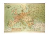 Map of European Railway Lines Giclee Print