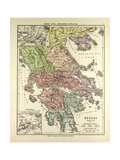Old Map of Greece Giclée-tryk