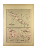 Map of New Caledonia Giclée-Druck