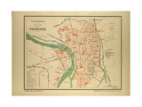 Map of Toulouse France Impressão giclée