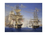 Naval Battle Between French and British, Oil on Canvas Giclee Print