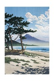 Pine Trees on the Beach with Mt Fuji in the Background, Japan Impressão giclée