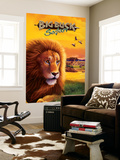 Big Buck Safari Lion Cabinet Art with Logo Carta da parati decorativa di John Youssi