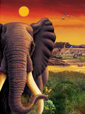 Big Buck Safari Elephant Cabinet Art Decalcomania da muro di John Youssi