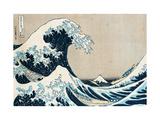 "Den store bølgen ved Kanagawa, fra serien ""36 visninger av berget Fuji Fuji, Fugaku Sanjuokkei Metalltrykk av Katsushika Hokusai"