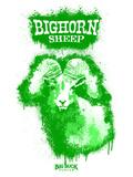 Big Horn Sheep Spray Paint Green Decalcomania da muro di Anthony Salinas
