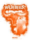 Wildebeest Spray Paint Orange Kunstdrucke von Anthony Salinas