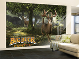 Big Buck Whitetail Deer with Logo Carta da parati decorativa – Grande di Mike Colesworthy