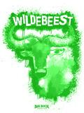 Wildebeest Spray Paint Green Plastikschild von Anthony Salinas
