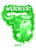 Wildebeest Spray Paint Green Autocollant mural par Anthony Salinas