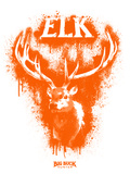 Elk Spray Paint Orange Autocollant mural par Anthony Salinas