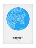 Sydney Street Map Blue Giclée-Premiumdruck von  NaxArt