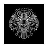 Lion Head Black Mesh Art by Lisa Kroll