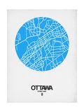 Ottawa Street Map Blue Giclée-Premiumdruck von  NaxArt